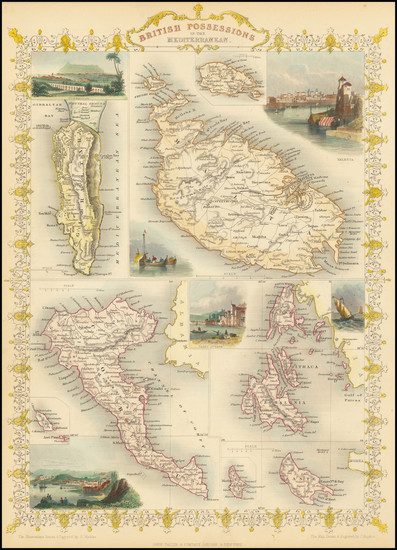 85-Mediterranean, Malta and Greece Map By John Tallis
