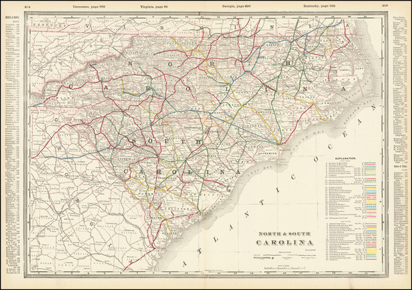 71-North Carolina and South Carolina Map By George F. Cram