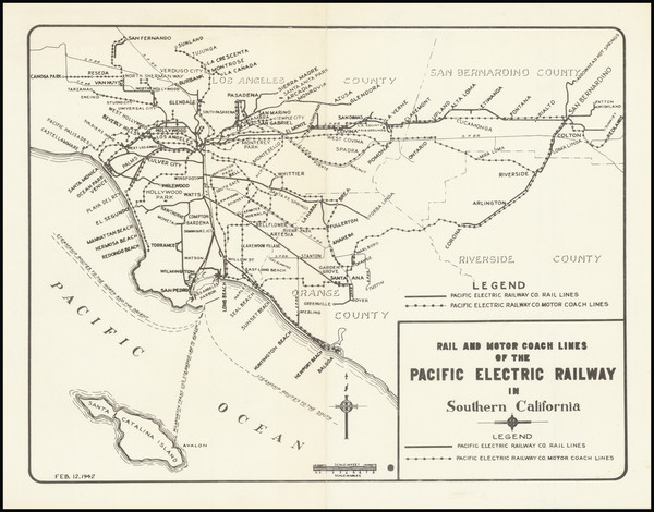 95-California and Los Angeles Map By Pacific Electric Railway