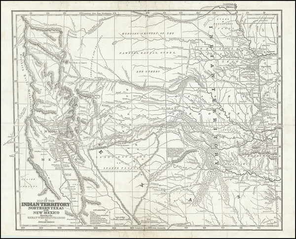 69-Texas, Plains, Southwest and Rocky Mountains Map By Josiah Gregg