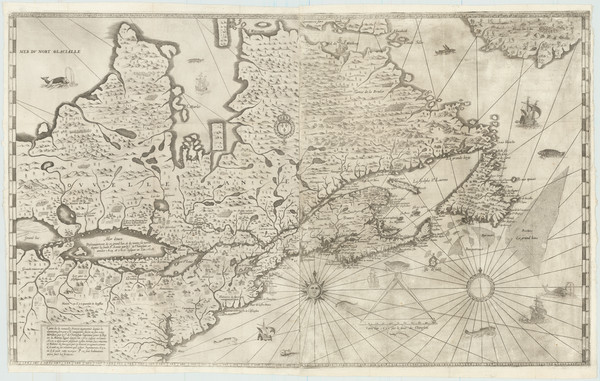 86-United States, New England and Canada Map By Samuel de Champlain