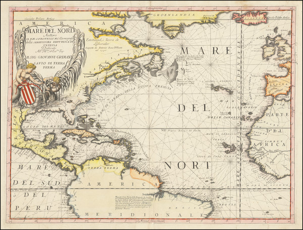 66-Atlantic Ocean and North America Map By Vincenzo Maria Coronelli