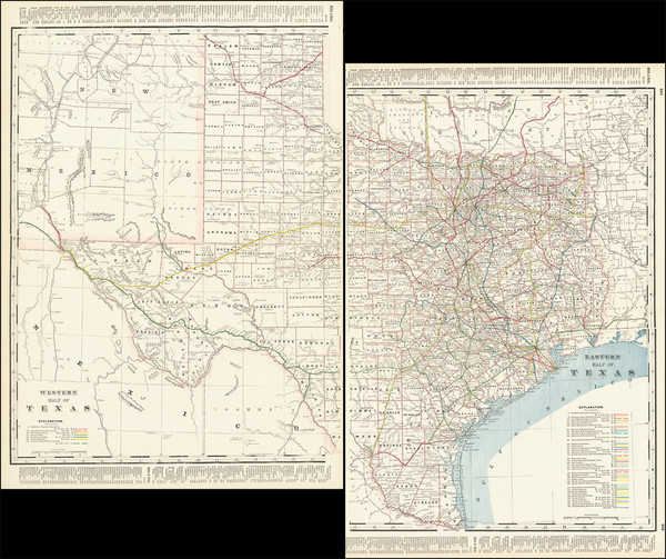 64-Texas Map By George F. Cram