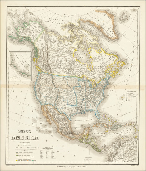 84-Utah, Utah and North America Map By Heinrich Kiepert