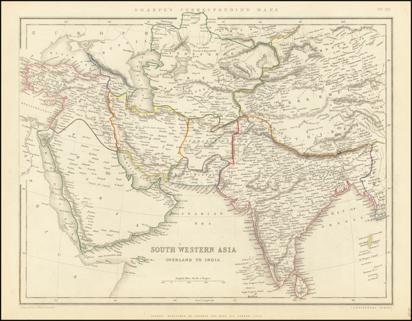 98-India, Central Asia & Caucasus, Middle East & Holy Land and Middle East Map By Chapman