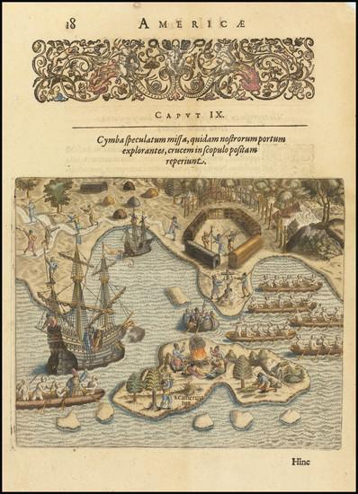 76-Brazil Map By Theodor De Bry