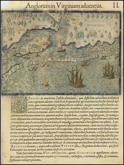 38-Southeast, Virginia and North Carolina Map By Theodor De Bry