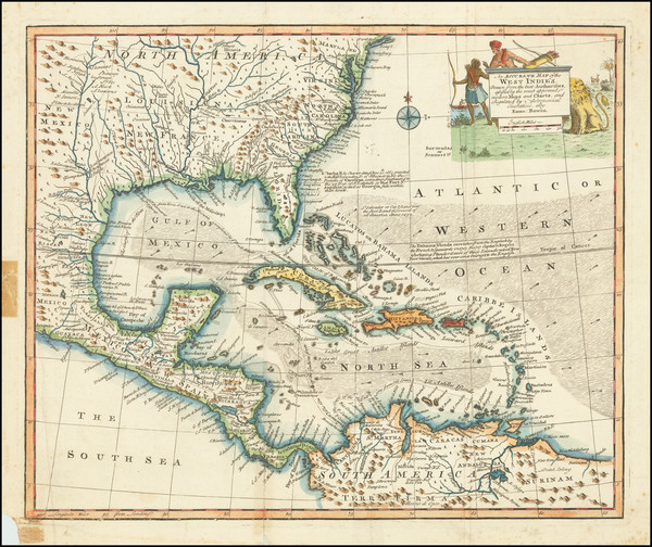 40-South, Southeast, Caribbean and Central America Map By Emanuel Bowen