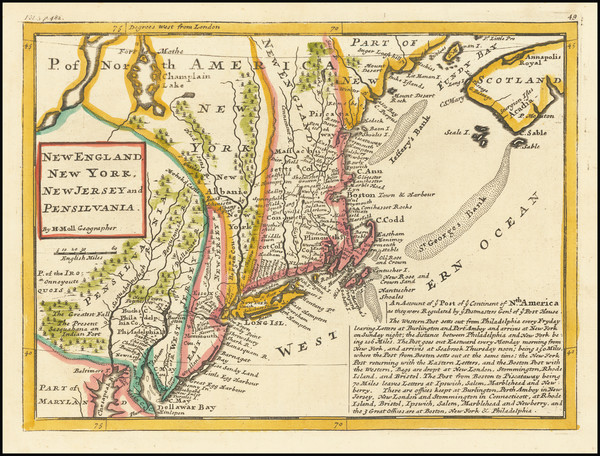 27-New England, New York State, Mid-Atlantic, New Jersey and Pennsylvania Map By Herman Moll