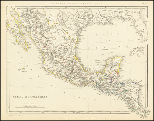 91-Texas, Mexico and Caribbean & Central America Map By Chapman & Hall