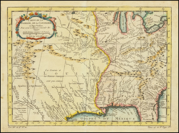 16-South, Southeast, Midwest and Southwest Map By Jacques Nicolas Bellin