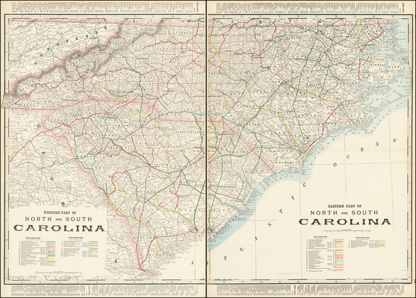 80-North Carolina and South Carolina Map By George F. Cram