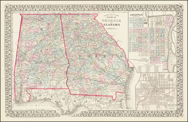 94-Alabama and Georgia Map By Samuel Augustus Mitchell Jr.