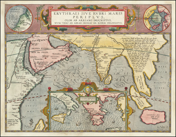 47-Polar Maps, Indian Ocean, Greece, India, Southeast Asia and Middle East Map By Abraham Ortelius