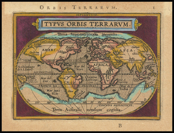97-World Map By Abraham Ortelius / Johannes Baptista Vrients