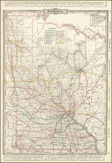 1-Minnesota Map By George F. Cram