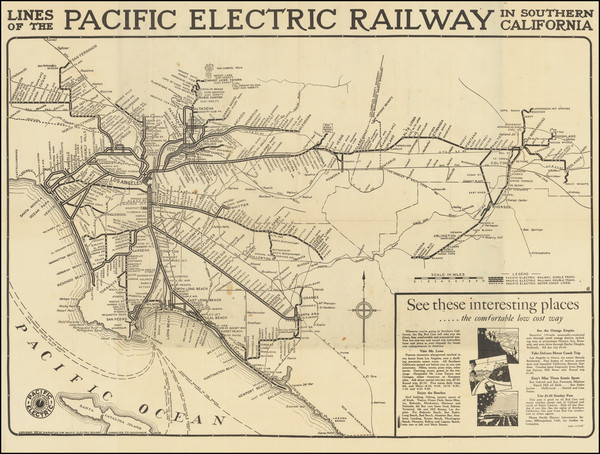 94-California and Los Angeles Map By D.W. Pontius / Pacific Electric Railway