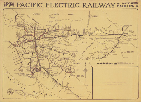47-California and Los Angeles Map By D.W. Pontius / Pacific Electric Railway