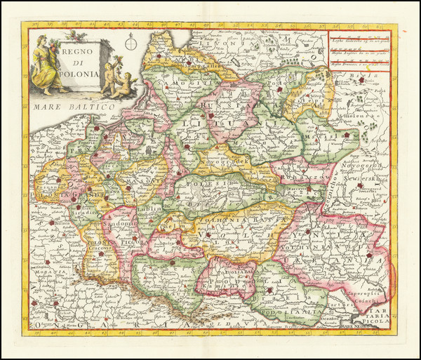 66-Poland and Baltic Countries Map By Giambattista Albrizzi