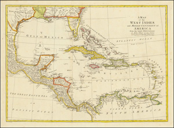 38-Florida, South, Caribbean and Central America Map By John Blair