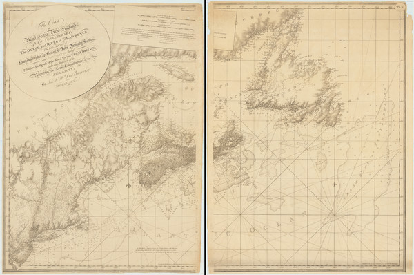 69-New England, Maine, Massachusetts, New York State, New Jersey and Eastern Canada Map By Joseph