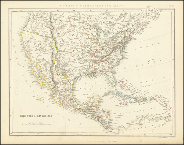 38-United States, Texas and California Map By Chapman & Hall