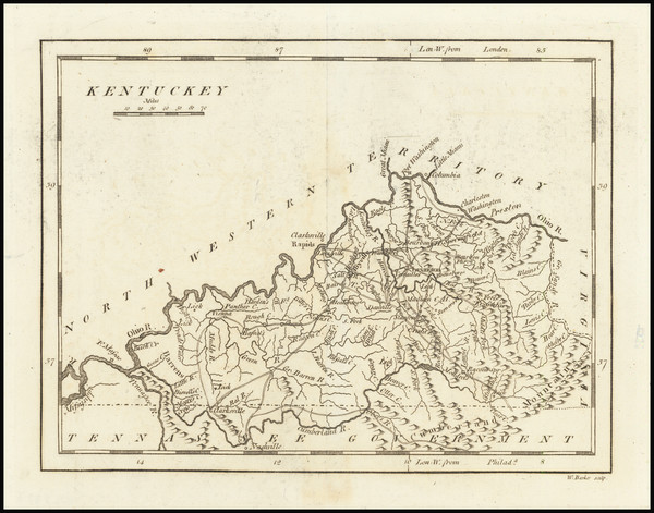 87-Kentucky Map By Mathew Carey