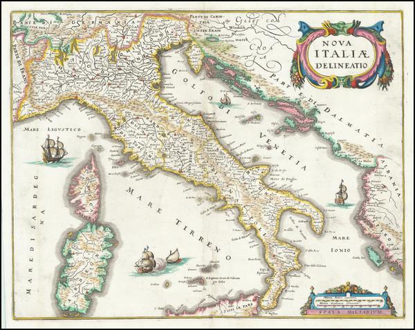 27-Italy Map By Matthaus Merian