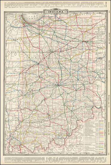 56-Indiana Map By George F. Cram