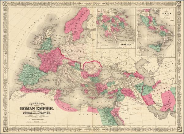 46-Europe, Italy and Mediterranean Map By Alvin Jewett Johnson