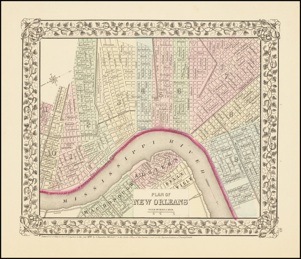 76-Louisiana and New Orleans Map By Samuel Augustus Mitchell Jr.