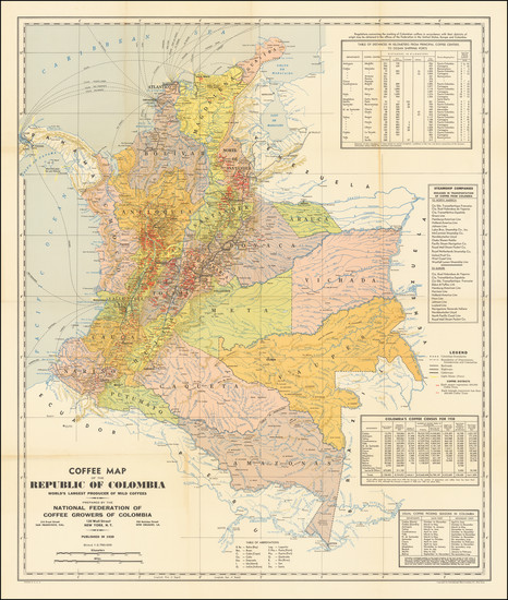 92-Colombia Map By National Federation of Coffee Growers of Colombia