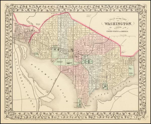 54-Washington, D.C. Map By Samuel Augustus Mitchell Jr.