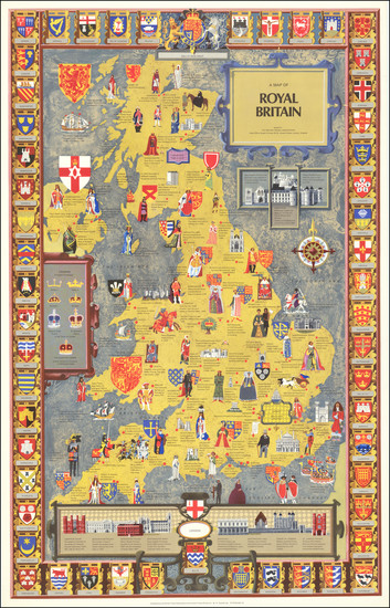 49-British Isles, England and Pictorial Maps Map By British Travel Association