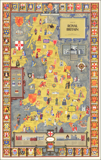 64-British Isles, England and Pictorial Maps Map By British Travel Association