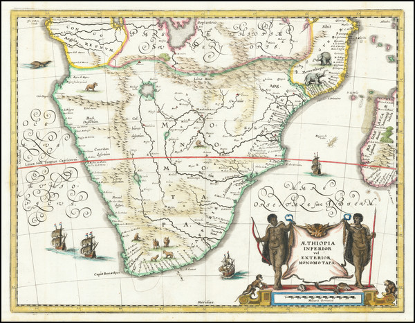 54-South Africa and East Africa Map By Matthaus Merian