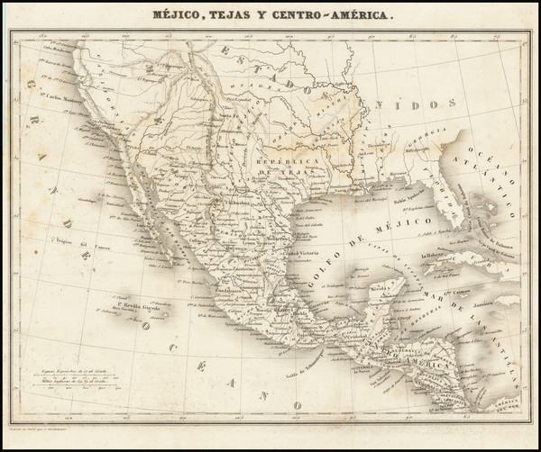 34-Texas, Southwest, Rocky Mountains, Mexico and California Map By Abbe Jean Jacques Barthelemy
