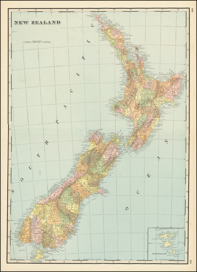 93-New Zealand Map By George F. Cram