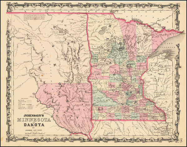 33-Minnesota, North Dakota and South Dakota Map By Benjamin P Ward  &  Alvin Jewett Johnson