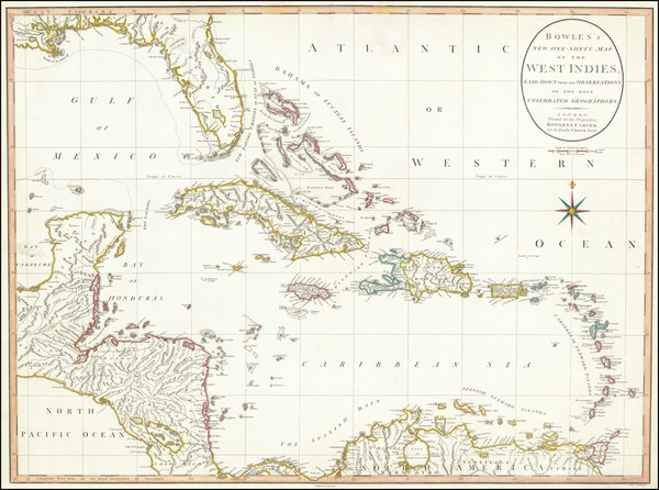 93-Florida, Caribbean and Central America Map By Carrington Bowles  &  Jonathan Carver