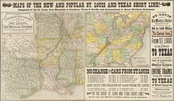 57-United States, Louisiana, Arkansas, Texas, Missouri and Oklahoma & Indian Territory Map By