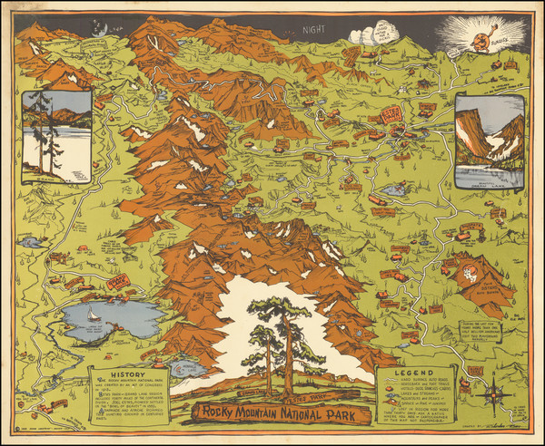 13-Colorado, Colorado and Pictorial Maps Map By Rocky Mountain Motor Co.
