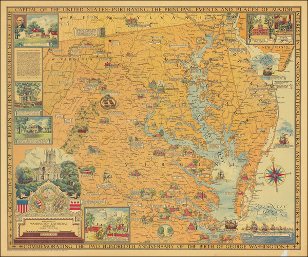66-Washington, D.C., Maryland, Delaware, Virginia and Pictorial Maps Map By Ernest Clegg