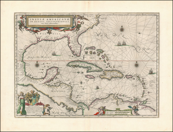 97-Florida, South, Southeast, Caribbean and Central America Map By Willem Janszoon Blaeu