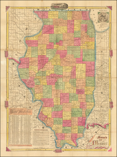 13-Illinois Map By Rufus Blanchard