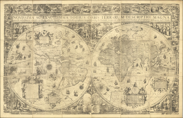 57-World Map By Jodocus Hondius / Edward Bierstadt / Edward Luther Stevenson / Jodocus Hondius II