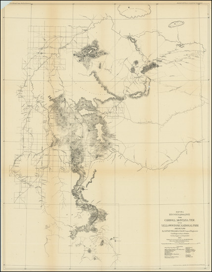 32-Montana and Wyoming Map By U.S. Army Corps of Topographical Engineer