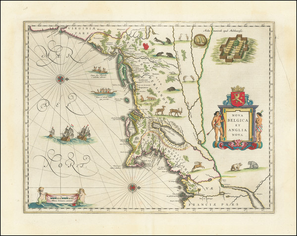 42-New England, New York State and Mid-Atlantic Map By Willem Janszoon Blaeu