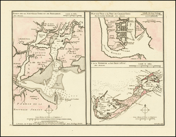 88-New York City, New York State, New Jersey and Bermuda Map By Philippe Buache