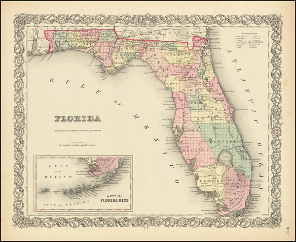 76-Florida Map By Joseph Hutchins Colton